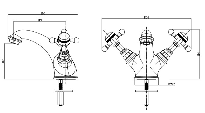 TECHNICAL DRAWING robinet-Mélangeur lavabo, Diana