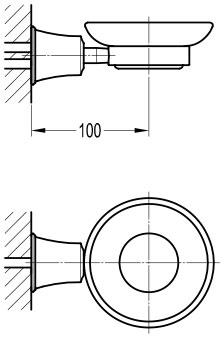 TECHNICAL DRAWING schéma Porte-savon en verre