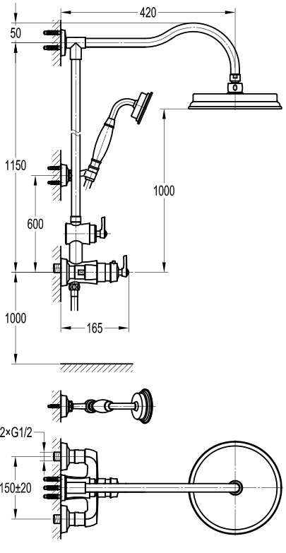 TECHNICAL DRAWING schéma colonne thermo cuivré