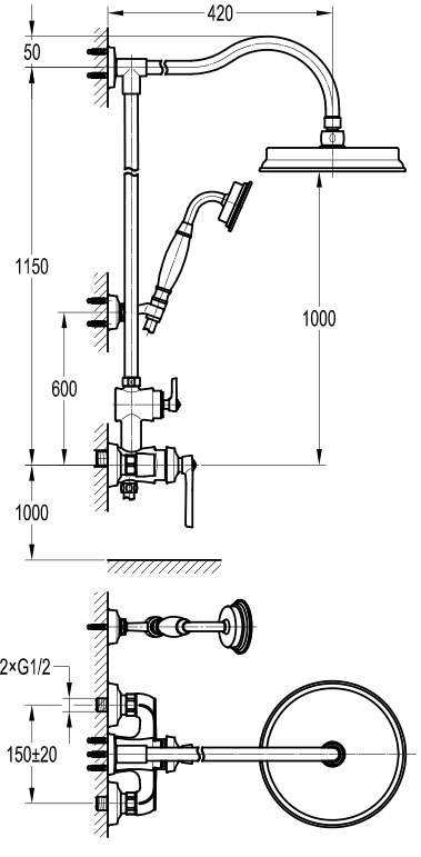 TECHNICAL DRAWING schéma colonne douche mitigeur