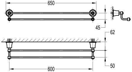 TECHNICAL DRAWING schéma porte serviettes simple
