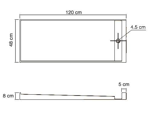 TECHNICAL DRAWING schéma vasque en résine 120x48cm