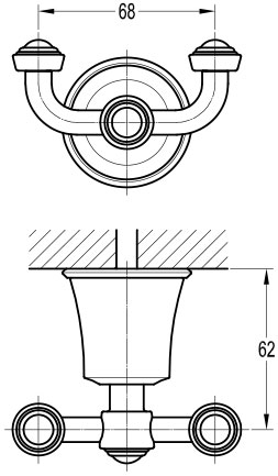 TECHNICAL DRAWING schéma patère liberty cuivrée