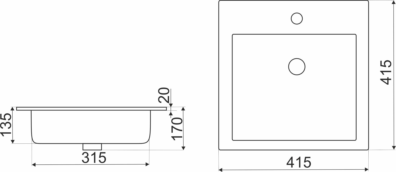 TECHNICAL DRAWING schéma vasque carrée Cara