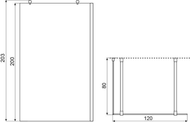 TECHNICAL DRAWING schéma paroi douche 120x203 cm