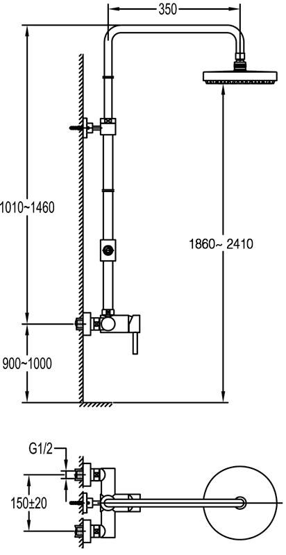 TECHNICAL DRAWING Schéma mitigeur century XXL