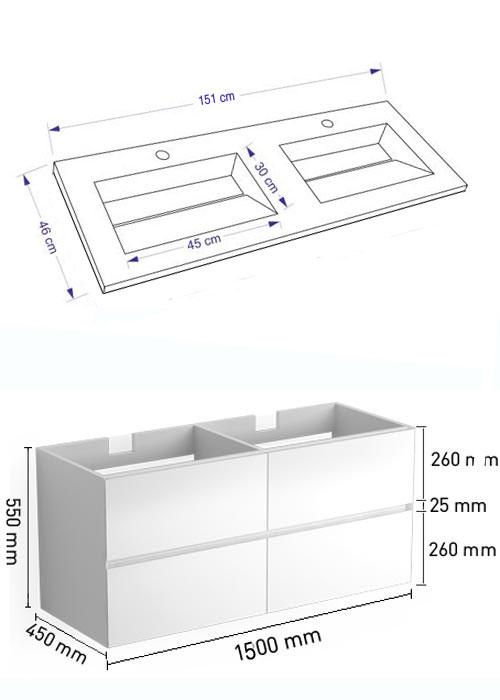 TECHNICAL DRAWING Schéma Meuble et vasque kyoto