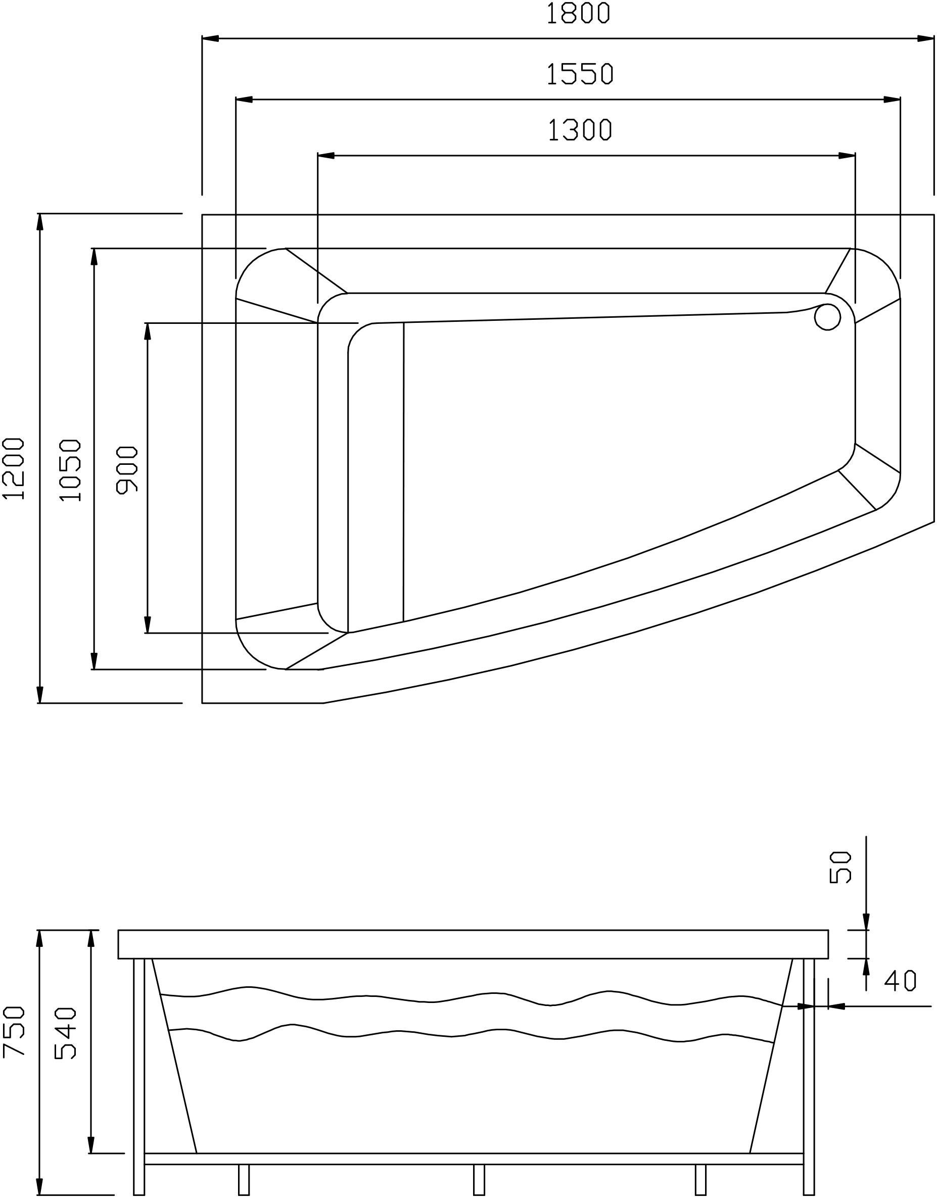 TECHNICAL DRAWING schéma baignoire balnéo Alcanar