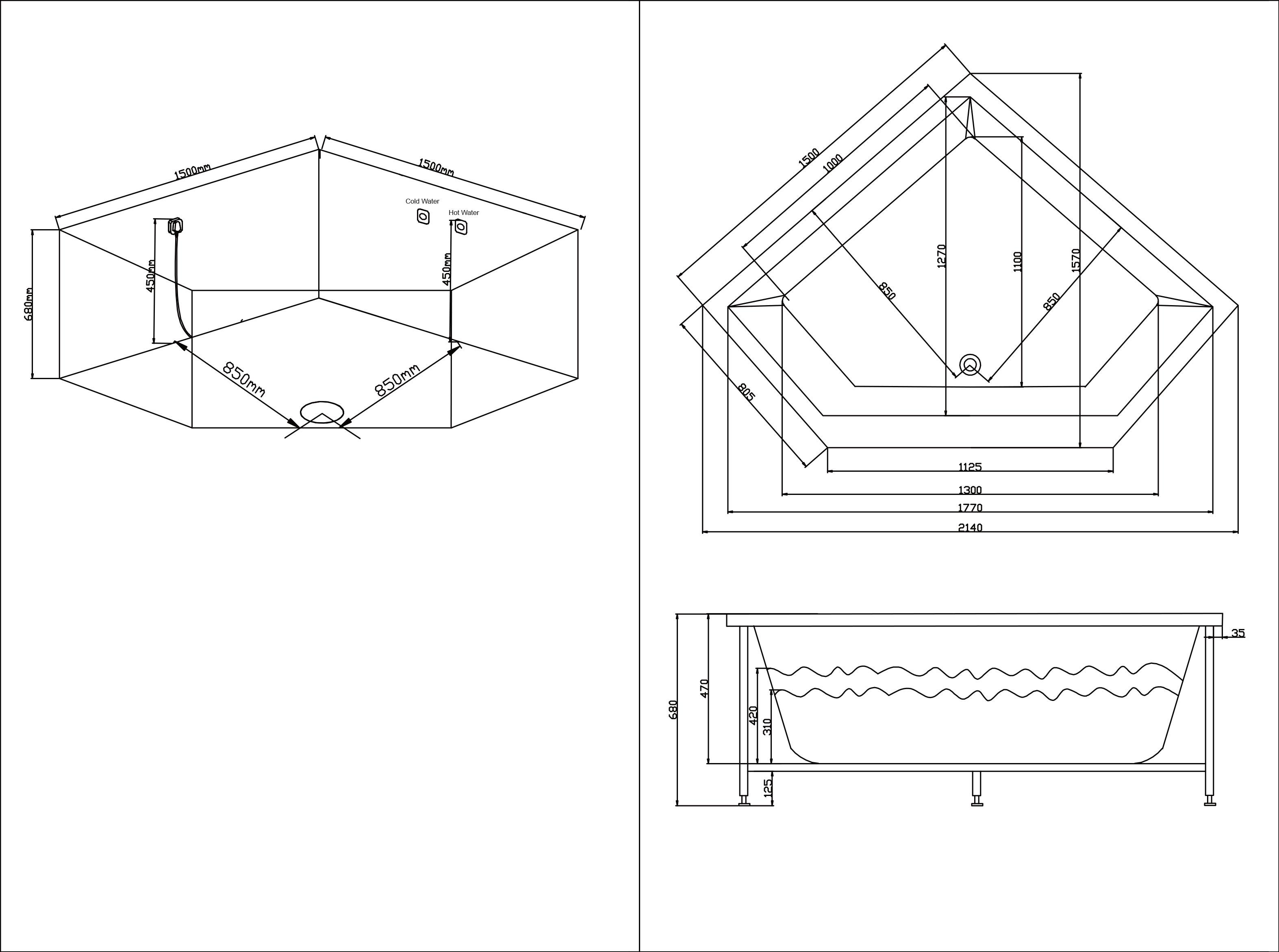 TECHNICAL DRAWING schéma baignoire balneo