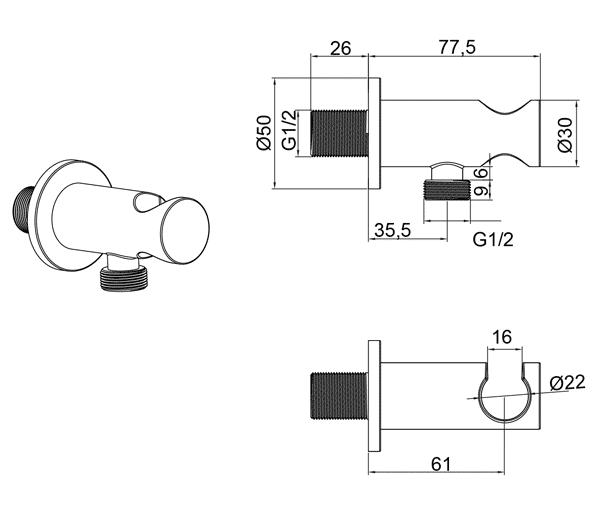 TECHNICAL DRAWING tech-prise-eau-et-support-rond