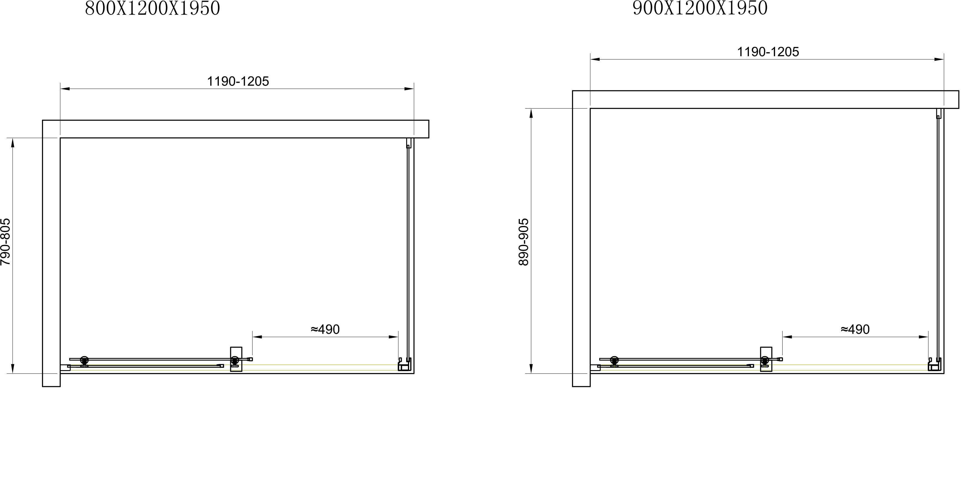 TECHNICAL DRAWING Cabine-douche-Malaga-schema