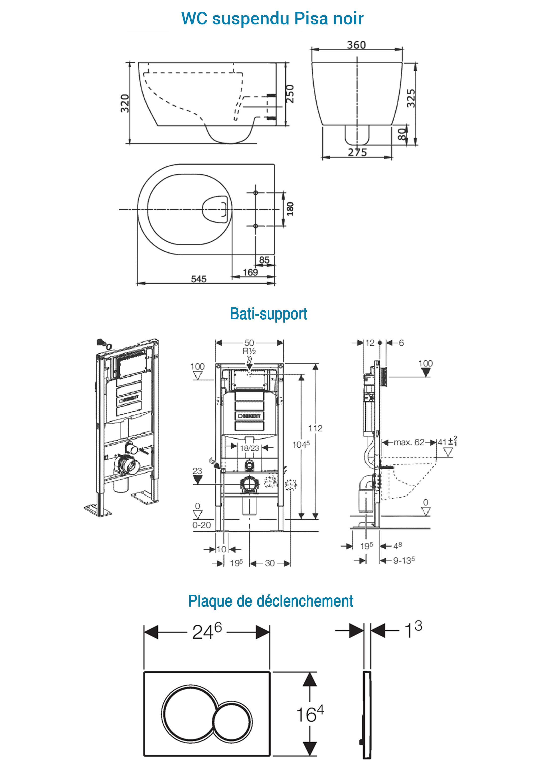 TECHNICAL DRAWING schéma pack WC pisa