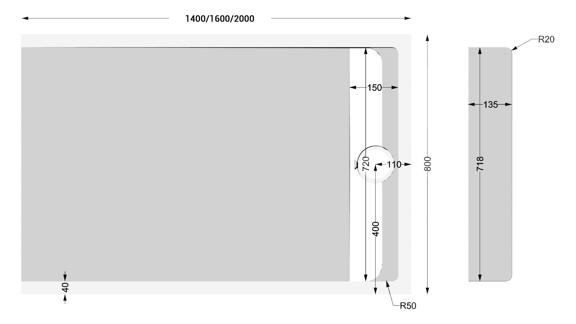 TECHNICAL DRAWING schéma receveur 80cm apolo