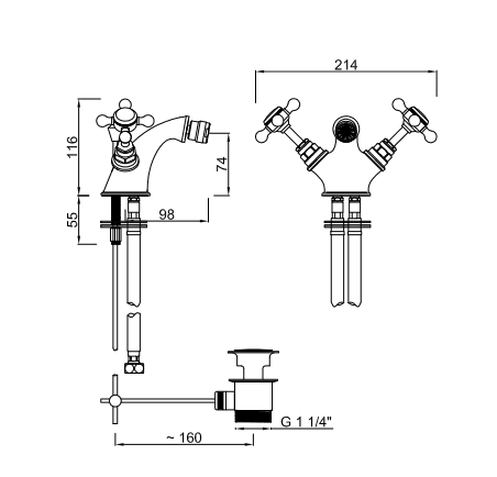 TECHNICAL DRAWING schéma melangeur bidet diana