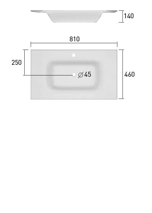 TECHNICAL DRAWING Schéma meuble cuenca verre 81cm