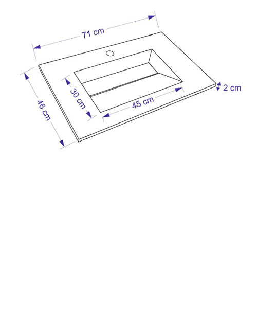 TECHNICAL DRAWING Schéma meuble Bois cuenca 71cm