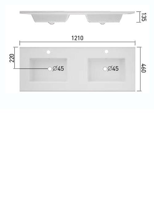 TECHNICAL DRAWING Schéma meuble.C double.V 121cm