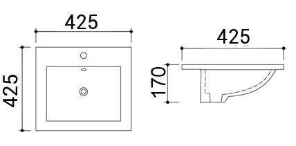 TECHNICAL DRAWING schéma vasque encaster amiri
