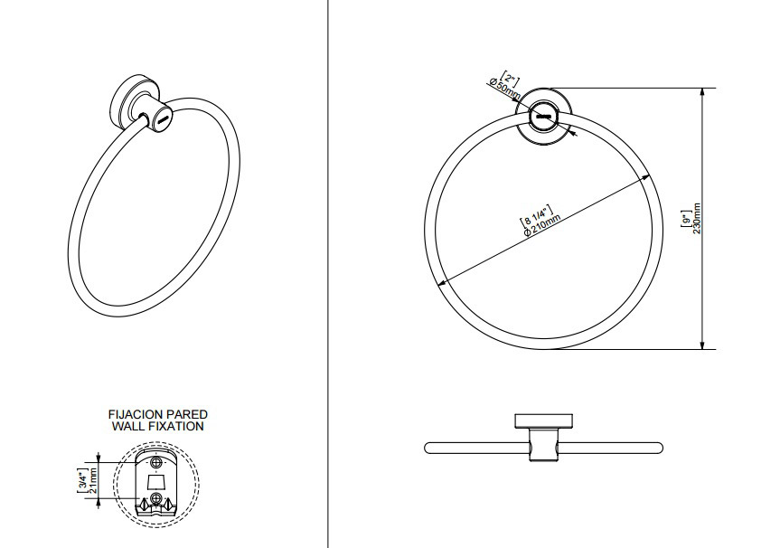 TECHNICAL DRAWING schéma anneau 21cm