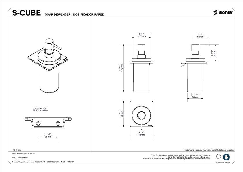 TECHNICAL DRAWING schéma distributeur savon S Cube
