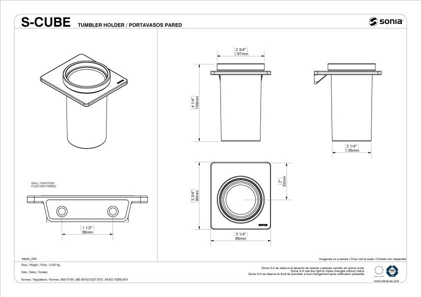 TECHNICAL DRAWING schéma porte verre S cube