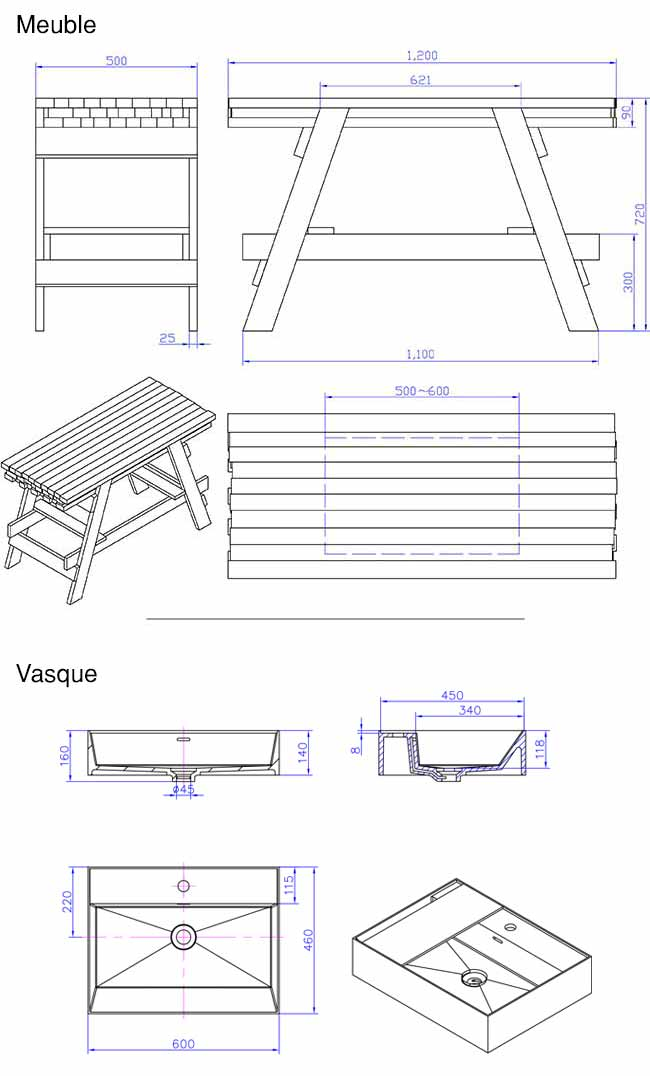 TECHNICAL DRAWING Schema meuble Chloe