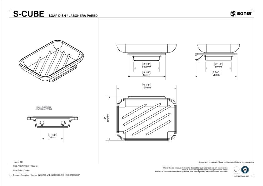 TECHNICAL DRAWING schéma porte savon S Cube