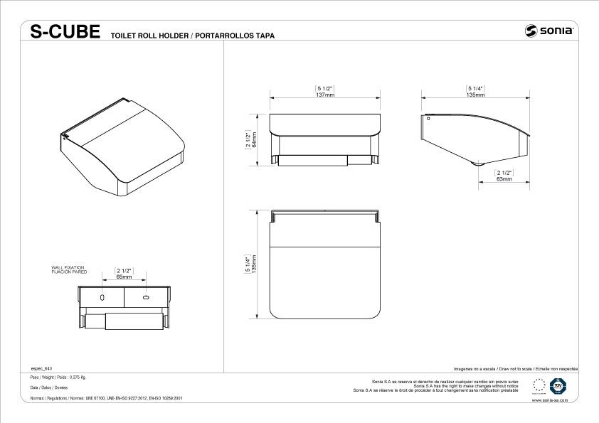 TECHNICAL DRAWING schéma porte papier s cube