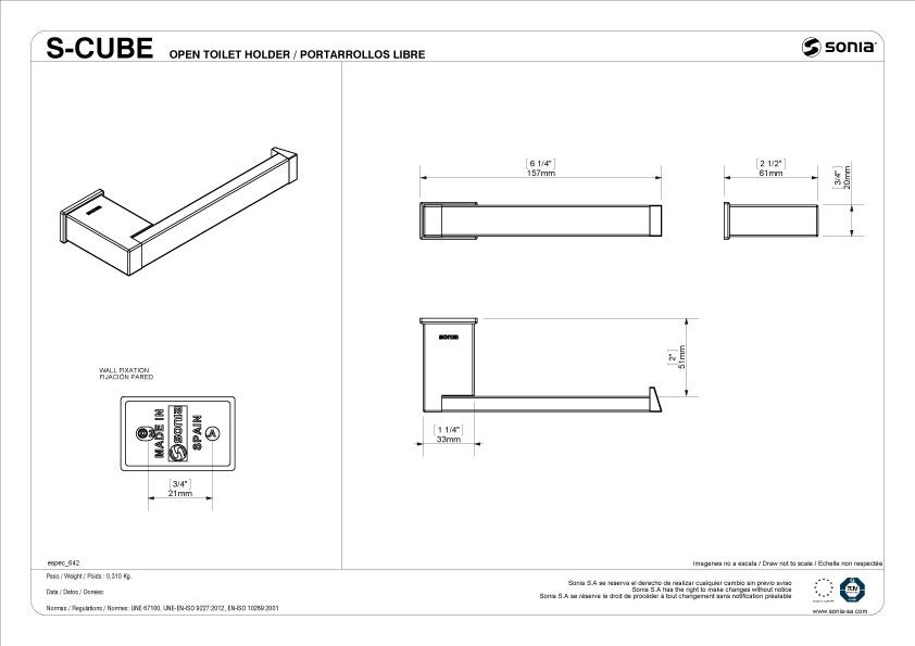 TECHNICAL DRAWING schéma porte papier