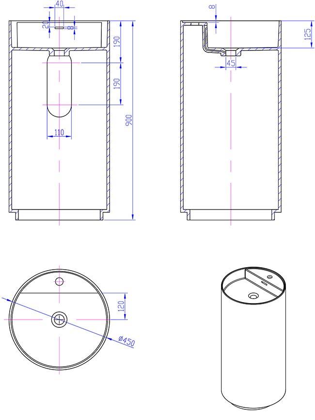 TECHNICAL DRAWING Schema-lavabo-Thin-45x90cm