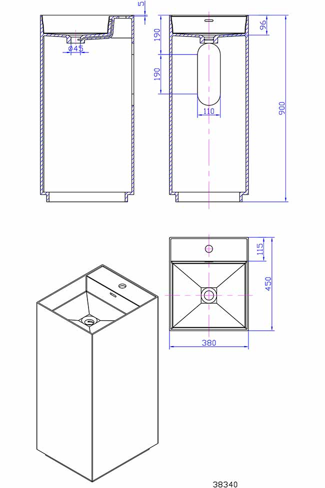 TECHNICAL DRAWING Schema-lavabo-Thin-38x90cm