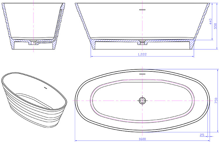 TECHNICAL DRAWING Schema baignoire Hoop 160x75cm