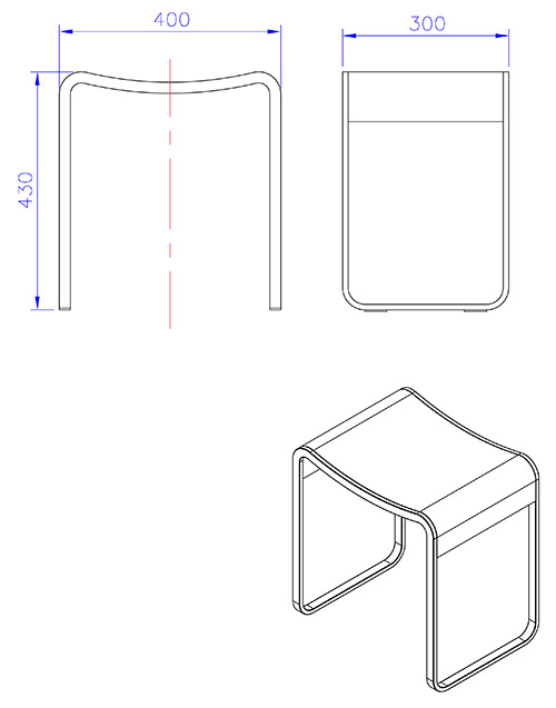 TECHNICAL DRAWING Schema tabouret Curve