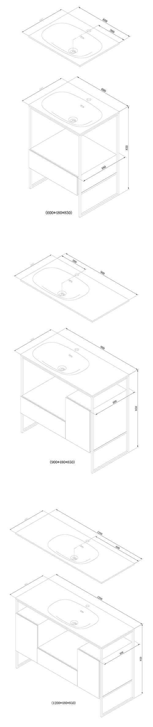 TECHNICAL DRAWING schema meuble Frame