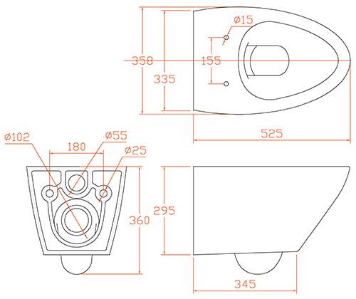 TECHNICAL DRAWING Schéma WC Aqualux