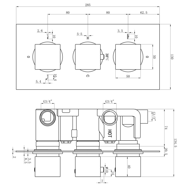 TECHNICAL DRAWING schéma thermo Qube 3 sortie