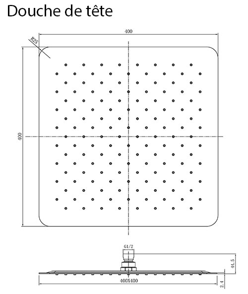 TECHNICAL DRAWING Douche de tête Qube 40x40cm