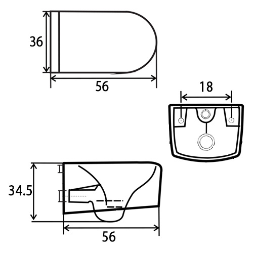 TECHNICAL DRAWING Schéma Wc Orba White Gold