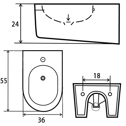 TECHNICAL DRAWING Schéma bidet Orba White Gold