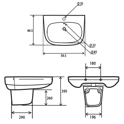 TECHNICAL DRAWING Schéma lavabo suspendu gold