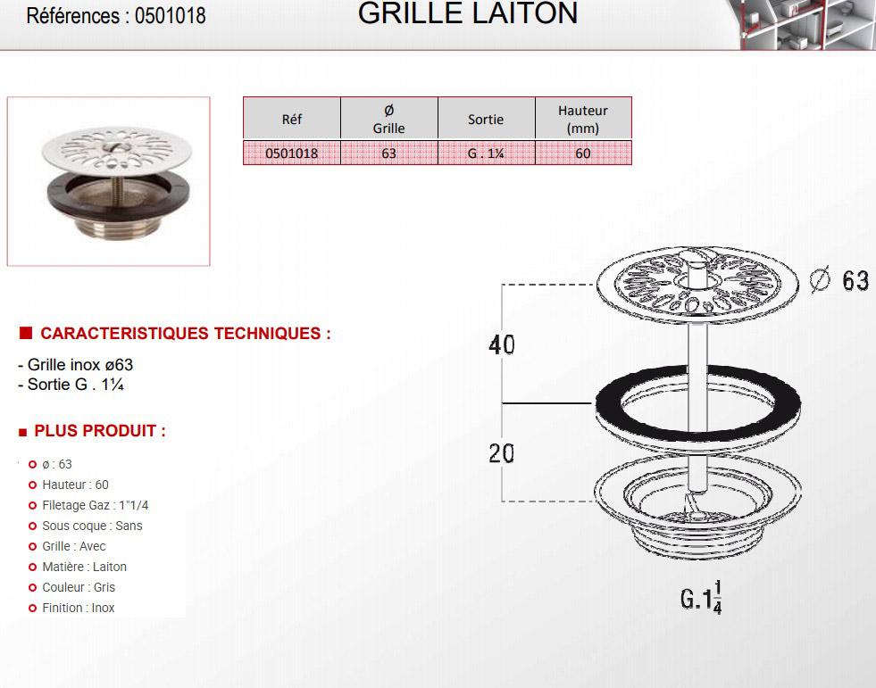 TECHNICAL DRAWING schéma bonde à grille