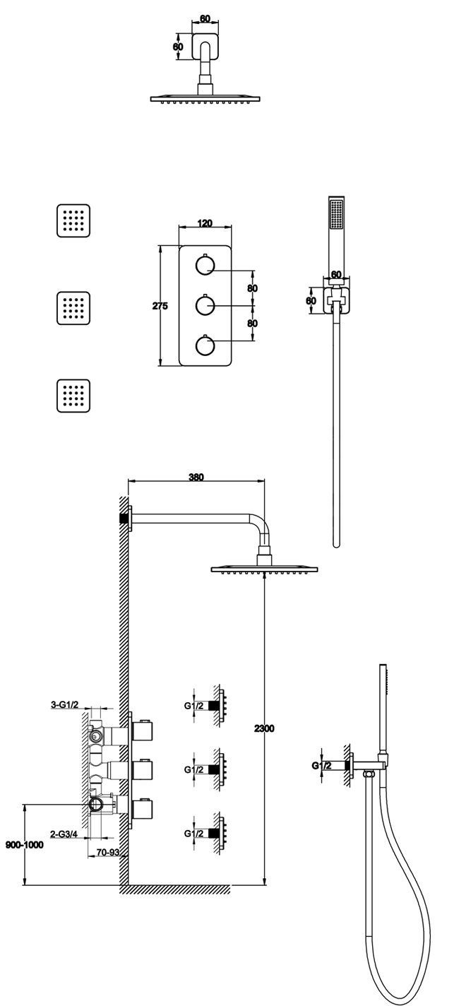 TECHNICAL DRAWING Schéma pack douche Alma
