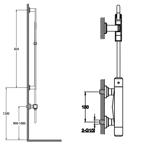 TECHNICAL DRAWING Schéma pack douche Concorde