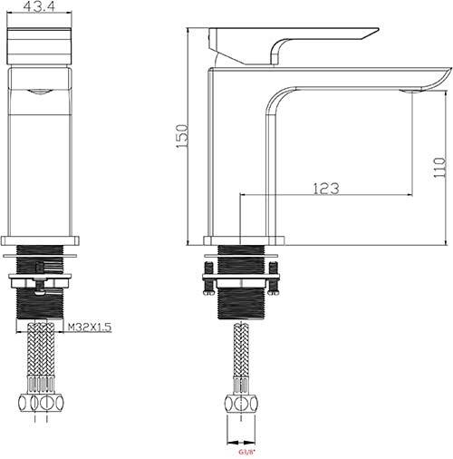 TECHNICAL DRAWING Schema-mitigeur-lavabo-Qube-noir