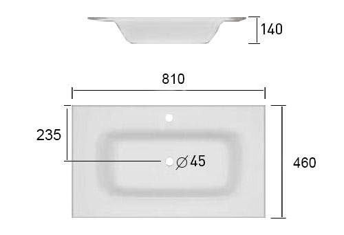 TECHNICAL DRAWING Schéma Vasque Cordoue 81