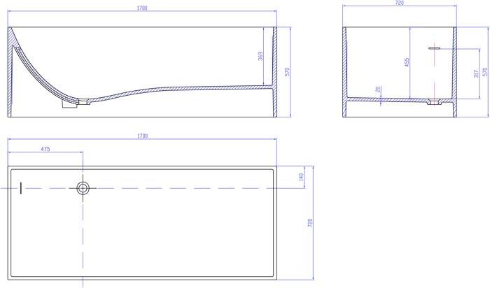 TECHNICAL DRAWING schema_baignoire_Cube_sur_mesure
