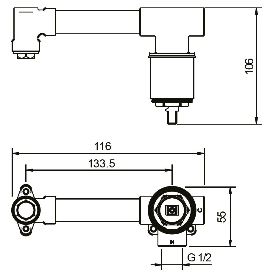 TECHNICAL DRAWING z-schéma corps encastré robinet