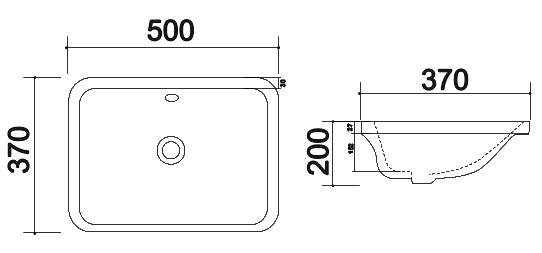 TECHNICAL DRAWING schema vasque encastree 4071
