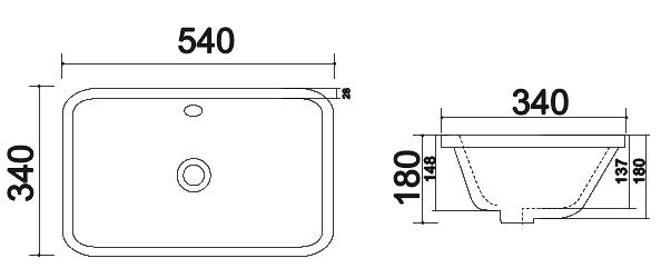 TECHNICAL DRAWING schema vasque encastree 4069