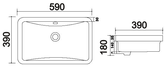 TECHNICAL DRAWING schema vasque encastree 40236